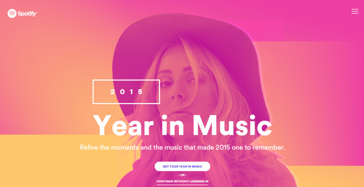 The landing page for Spotify's 2015 Year in Music.